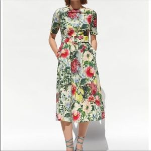Zara green floral midi dress size small